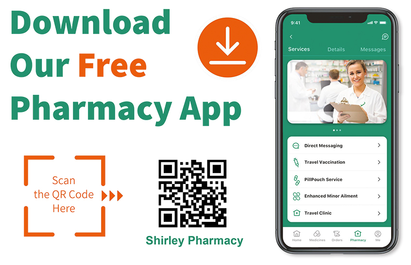 Download our free Pharmacy App. Scan the QR code here